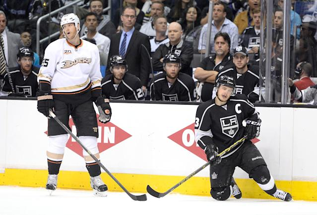 LOS ANGELES, CA - MAY 10: Bryan Allen #55 of the Anaheim Ducks reacts to his high sticking penalty on Dustin Brown #23 of the Los Angeles Kings during the first period in Game Four of the Second Round of the 2014 NHL Stanley Cup Playoffs at Staples Center on May 10, 2014 in Los Angeles, California. (Photo by Harry How/Getty Images)
