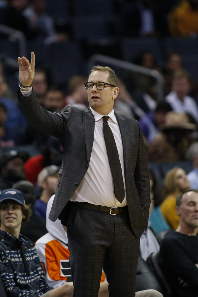 Toronto Raptors coach Nick Nurse directs his team against the Charlotte Hornets during the first half of an NBA basketball game in Charlotte, N.C., Wednesday, Jan. 8, 2020. Toronto won 112-110 in overtime. (AP Photo/Nell Redmond)