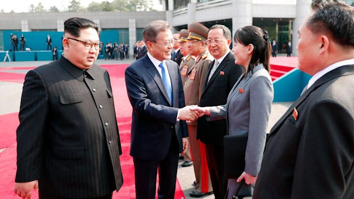 Ms Kim has been party to her brother's diplomatic talks, here with South Korea's Moon Jae-in