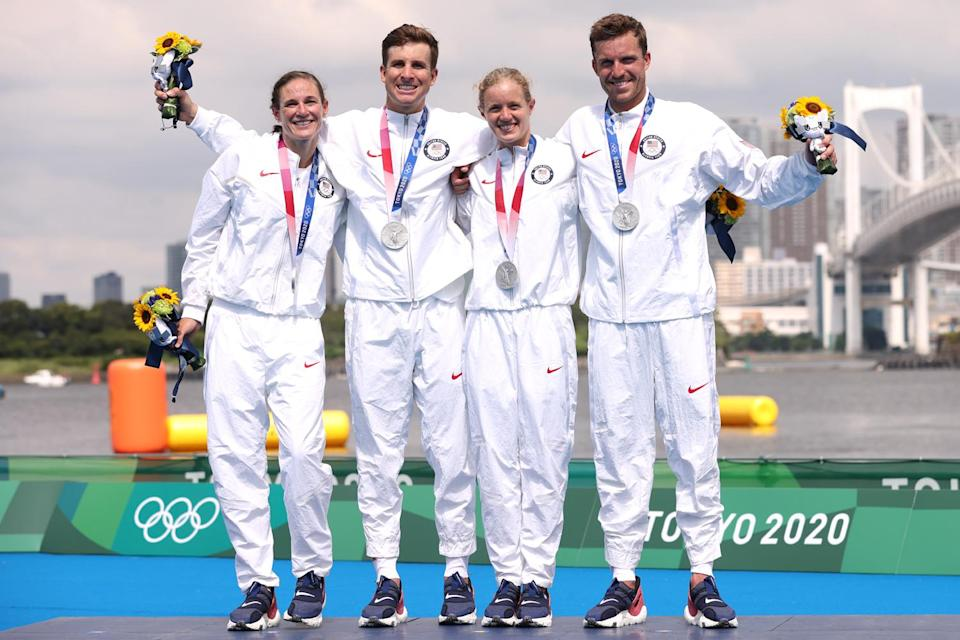 """<p>Biography: Katie Zaferes is 32, Kevin McDowell is 29, Taylor Knibb is 23 and Morgan Pearson is 27</p> <p>Event: Triathlon mixed relay (a new event this year)</p> <p>Quote: Zaferes: """"I just think it's so amazing for our sport and to be able to introduce it to so many other people. Because we all love it and we know how special it feels compared to the individual. I just think it's an incredible event.""""</p>"""