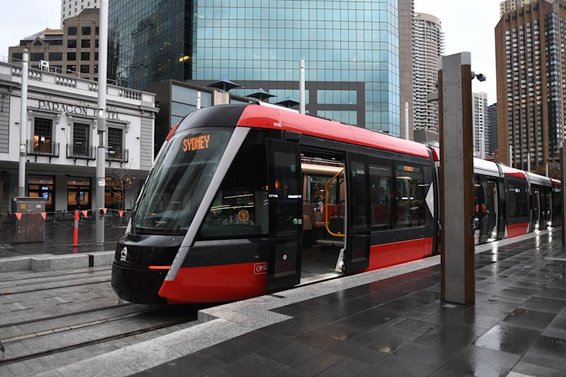 One of the new trams at Circular Quay. Source: AAP