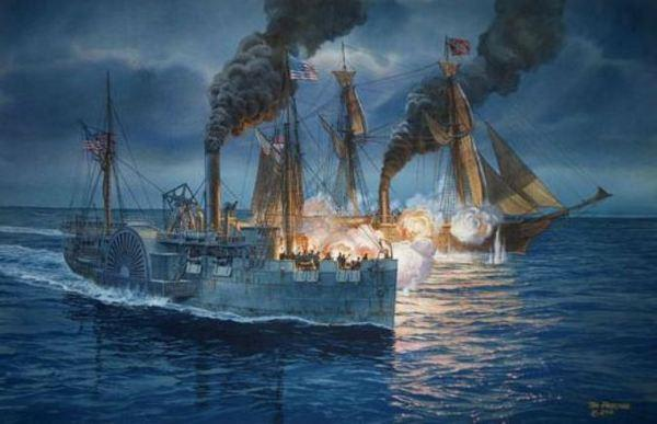 The battle between the USS Hatteras and the CSS Alabama on Jan. 11, 1863, as depicted in a painting by Tom Freeman.
