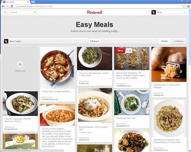 This undated image provided by Pinterest shows the popular link- and photo-sharing website's new updated site. The update now offers people a simpler navigation and new ways to arrange their boards to fit their needs. Although the haphazard spirit of Pinterest remains, the site is much less overwhelming.  (AP Photo/Pinterest)