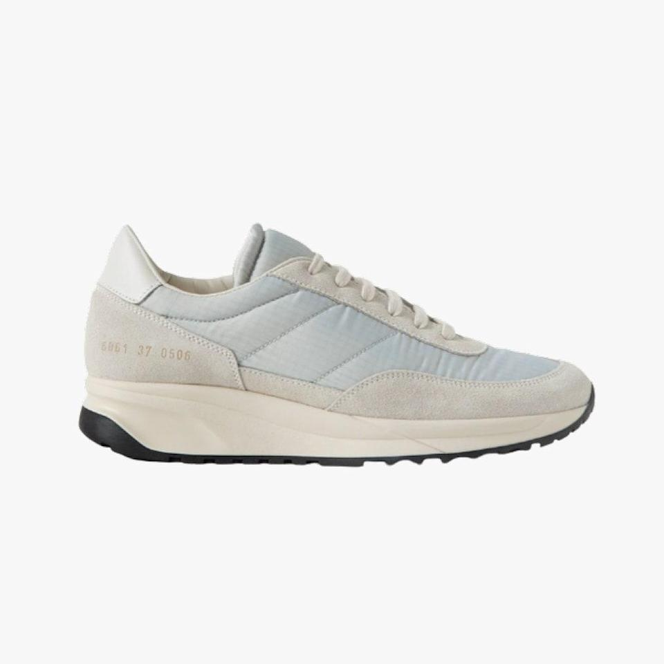 "$495, NET-A-PORTER. <a href=""https://www.net-a-porter.com/en-us/shop/product/common-projects/track-classic-leather-trimmed-suede-and-ripstop-sneaker/1316433"" rel=""nofollow noopener"" target=""_blank"" data-ylk=""slk:Get it now!"" class=""link rapid-noclick-resp"">Get it now!</a>"