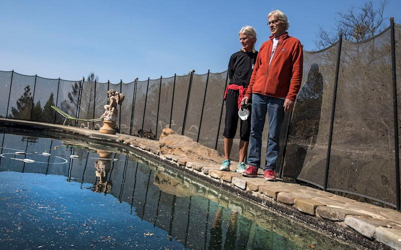 John and Jan Pascoe returning to the pool they sheltered in as the wildfire raged - Los Angeles Times