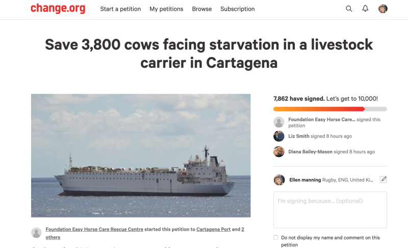 A petition was started to save the cattle, who are now en route to their final destination (Picture: Change.org)