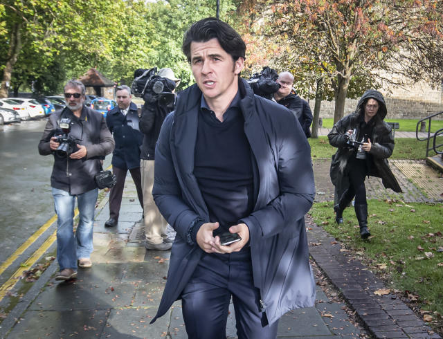 Joey Barton leaves Barnsley Magistrates Court (Credit: Getty Images)