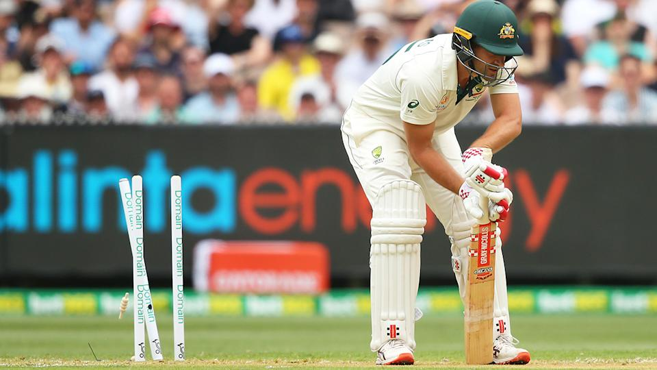 Joe Burns, pictured after he was bowled for a golden duck on day one of the Boxing Day Test.