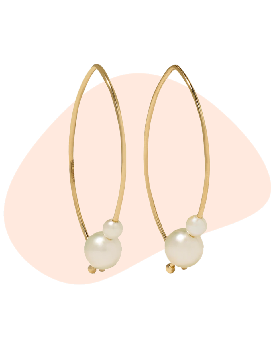 """These pearl earrings are delicate enough for mom to wear every day, and perfect for her to wear on a great night out once the world re-opens this summer. $350, Net-A-Porter. <a href=""""https://www.net-a-porter.com/en-us/shop/product/mizuki/jewelry-and-watches/earrings/small-14-karat-gold-pearl-earrings/4394988609284076"""" rel=""""nofollow noopener"""" target=""""_blank"""" data-ylk=""""slk:Get it now!"""" class=""""link rapid-noclick-resp"""">Get it now!</a>"""