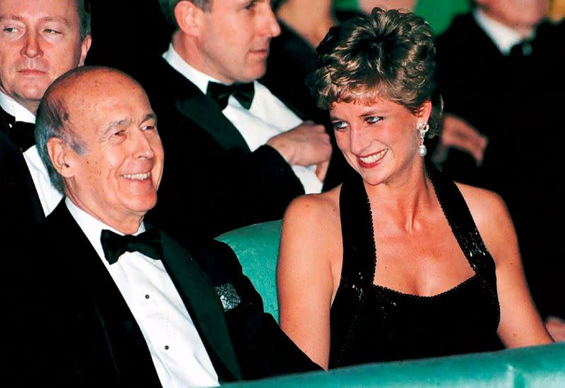 FILE PHOTO: Diana Princess of Wales and former French President Giscard d'Estaing during theatre event at Versailles