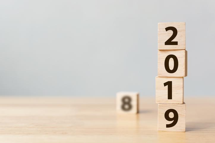 Blocks arranged to present the year 2019 on their faces.