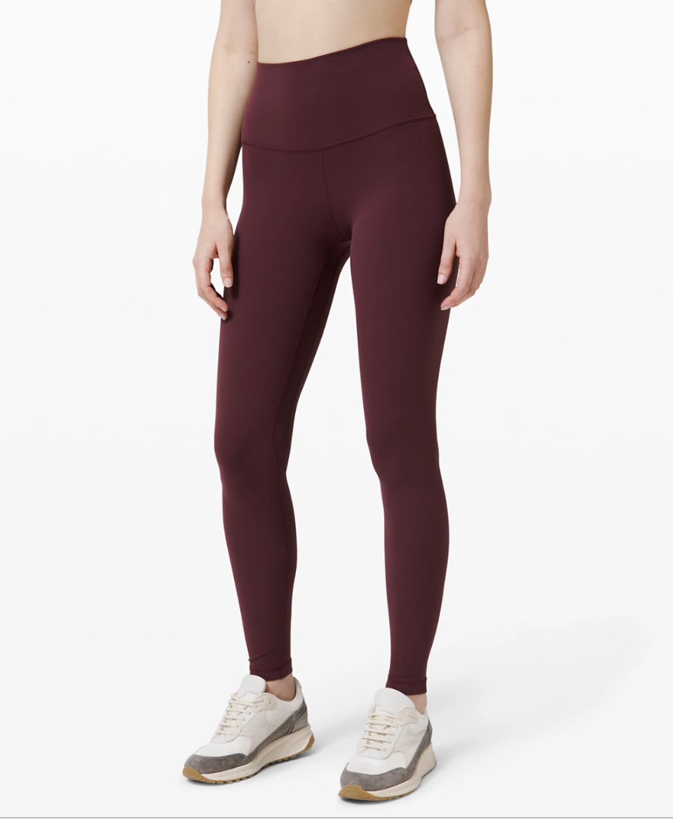 """<p><strong>Lululemon</strong></p><p>lululemon.com</p><p><a href=""""https://go.redirectingat.com?id=74968X1596630&url=https%3A%2F%2Fshop.lululemon.com%2Fp%2Fwomen-pants%2FAlign-Pant-Full-Length-28%2F_%2Fprod8780551&sref=https%3A%2F%2Fwww.goodhousekeeping.com%2Fclothing%2Fg32006182%2Fbest-loungewear-brands%2F"""" rel=""""nofollow noopener"""" target=""""_blank"""" data-ylk=""""slk:Shop Now"""" class=""""link rapid-noclick-resp"""">Shop Now</a></p><p>These buttery soft leggings from Lululemon are so comfortable that one of our Lab experts says she owns four pairs and wears them while working from home. They're<strong> fitted but not compressive, so you can move around easily</strong><strong>.</strong> </p><p><strong>RELATED:</strong> <a href=""""https://www.goodhousekeeping.com/health-products/g28763598/best-compression-leggings/"""" rel=""""nofollow noopener"""" target=""""_blank"""" data-ylk=""""slk:7 Best Compression Leggings, According to Textile Experts"""" class=""""link rapid-noclick-resp"""">7 Best Compression Leggings, According to Textile Experts</a></p>"""