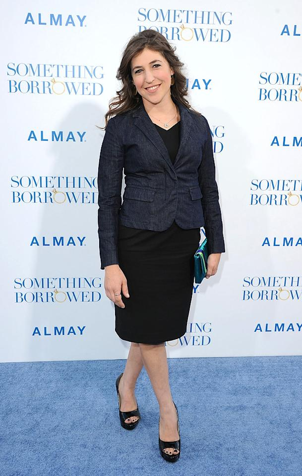 "<a href=""http://movies.yahoo.com/movie/contributor/1800108725"">Mayim Bialik</a> attends the Los Angeles premiere of <a href=""http://movies.yahoo.com/movie/1810158033/info"">Something Borrowed</a> on May 3, 2011."