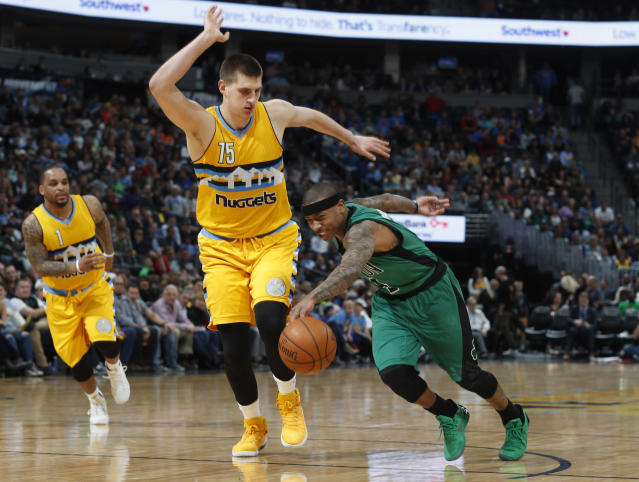 """Can playing alongside <a class=""""link rapid-noclick-resp"""" href=""""/nba/players/5352/"""" data-ylk=""""slk:Nikola Jokic"""">Nikola Jokic</a> help <a class=""""link rapid-noclick-resp"""" href=""""/nba/players/4942/"""" data-ylk=""""slk:Isaiah Thomas"""">Isaiah Thomas</a> rediscover the All-Star form he lost last year, and help push the <a class=""""link rapid-noclick-resp"""" href=""""/nba/teams/den"""" data-ylk=""""slk:Nuggets"""">Nuggets</a> into the playoffs? (AP)"""