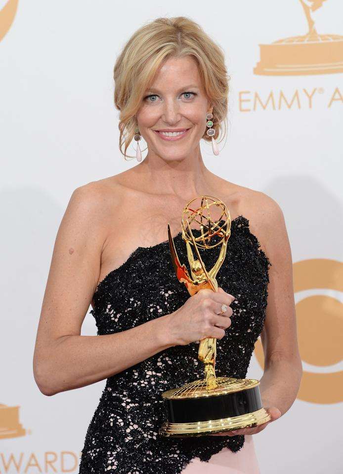 "LOS ANGELES, CA - SEPTEMBER 22: Actress Anna Gunn, winner of the Best Supporting Actress in a Drama Series Award for ""Breaking Bad"" poses in the press room during the 65th Annual Primetime Emmy Awards held at Nokia Theatre L.A. Live on September 22, 2013 in Los Angeles, California. (Photo by Jason Merritt/Getty Images)"