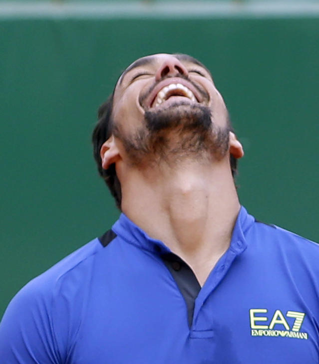 Italy's Fabio Fognini jubilates after defeating Spain's Rafael Nadal during their semifinal match of the Monte Carlo Tennis Masters tournament in Monaco, Saturday, April, 20, 2019. (AP Photo/Claude Paris)
