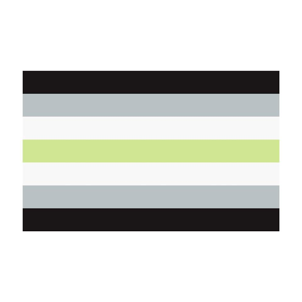 """<p>The agender pride flag was originally made by Salem X in 2014.</p><p>The activist organization <a href=""""https://outrightinternational.org/content/flags-lgbtiq-community#:~:text=Agender%20Pride%20Flag%20%E2%80%94%20The%20agender,green%20stripe%20represents%20nonbinary%20genders."""" rel=""""nofollow noopener"""" target=""""_blank"""" data-ylk=""""slk:OutRight Action International"""" class=""""link rapid-noclick-resp"""">OutRight Action International</a> notes that the black and white in the flag stand for the """"absence of gender,"""" gray is for """"semi-genderlessness,"""" while the green stripe in the middle represents """"nonbinary genders.""""</p>"""