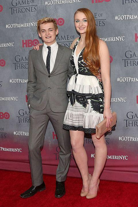Sophie Turner (R) and the real Joffrey, Jack Gleeson. Credit: Getty Images