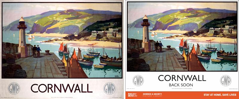 Undated handout image issued by the National Railway Museum and Science and Society Picture Library of an original railway travel poster (left) with a reimagined poster (right) designed to show support for key workers, including those working in the rail industry, the set of ten popular travel posters features vintage artwork with new messages updated to reflect the GovernmentÕs travel advice.