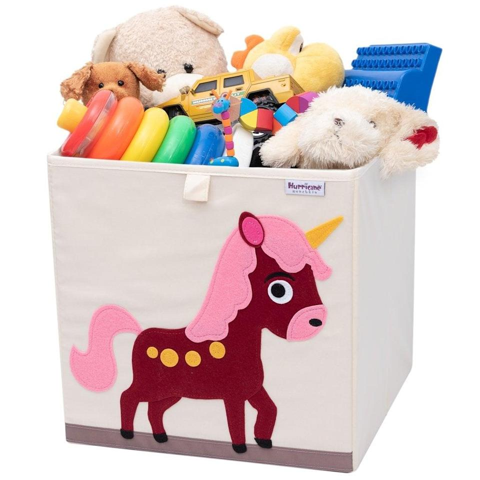 "<p>All of your child's dolls and plush toys (and everything in-between) can live in this adorable <a href=""https://www.popsugar.com/buy/Unicorn-Toy-Storage-Box-374041?p_name=Unicorn%20Toy%20Storage%20Box&retailer=hurricanemunchkin.com&pid=374041&price=25&evar1=moms%3Aus&evar9=25800161&evar98=https%3A%2F%2Fwww.popsugar.com%2Fphoto-gallery%2F25800161%2Fimage%2F45397428%2FUnicorn-Toy-Storage-Box&list1=gifts%2Choliday%2Cgift%20guide%2Cparenting%2Ckid%20shopping%2Choliday%20for%20kids%2Cgifts%20for%20toddlers%2Cbest%20of%202019&prop13=api&pdata=1"" class=""link rapid-noclick-resp"" rel=""nofollow noopener"" target=""_blank"" data-ylk=""slk:Unicorn Toy Storage Box"">Unicorn Toy Storage Box</a> ($25), which comes in so many other designs.</p>"