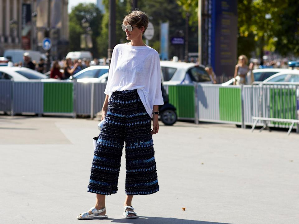 Still rocking aged 48: Stella Tennant was snapped for her street style at Haute Couture Fashion Week in 2018Dvora/REX