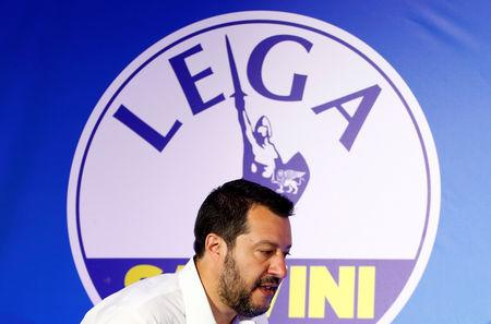 Deputy Prime Minister and League party leader Matteo Salvini arrives to address a news conference at the League party headquarters, following the results of the European Parliament elections, in Milan, Italy May 27, 2019. REUTERS/Alessandro Garofalo