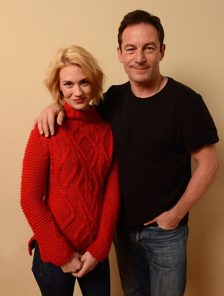PARK CITY, UT - JANUARY 22:  Actors Jason Isaacs (L) and January Jones pose for a portrait during the 2013 Sundance Film Festival at the Getty Images Portrait Studio at Village at the Lift on January 22, 2013 in Park City, Utah.  (Photo by Larry Busacca/Getty Images)
