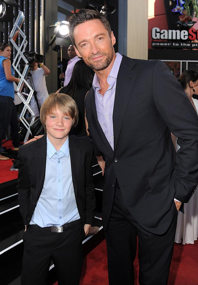 """<a href=""""http://movies.yahoo.com/movie/contributor/1809732462"""">Dakota Goyo</a> and <a href=""""http://movies.yahoo.com/movie/contributor/1800354816"""">Hugh Jackman</a> at the Los Angeles premiere of <a href=""""http://movies.yahoo.com/movie/1810130487/info"""">Real Steel</a> on October 2, 2011."""