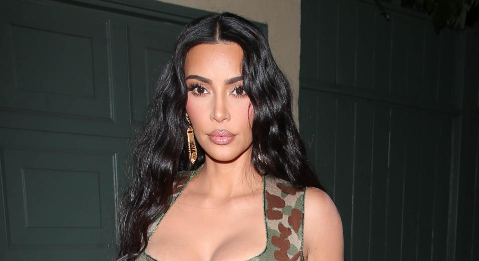 Kim Kardashian looked unrecognisable as she donned an all-leather look while arriving at a New York hotel. (Getty Images)