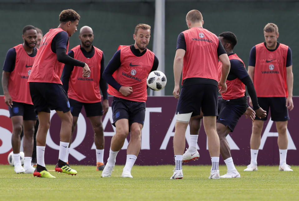England's players attend official training in Repino near St. Petersburg, Russia (AP Photo/Dmitri Lovetsky)