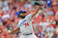 Los Angeles Dodgers' Kenley Jansen throws during the ninth inning of a baseball game against the Cincinnati Reds in Cincinnati, Saturday, Sept. 18, 2021. The Dodgers won 5-1. (AP Photo/Aaron Doster)