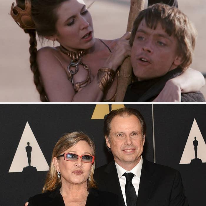 Luke Skywalker rescuing Princess Leia above. Carrie Fisher with her brother at the Oscars below