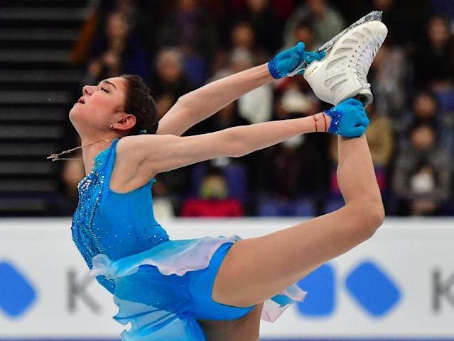 Russia's Evgenia Medvedeva competes in the women's short program at the ISU World Figure Skating Championships in Helsinki, Finland on March 29, 2017 (AFP Photo/John MACDOUGALL)
