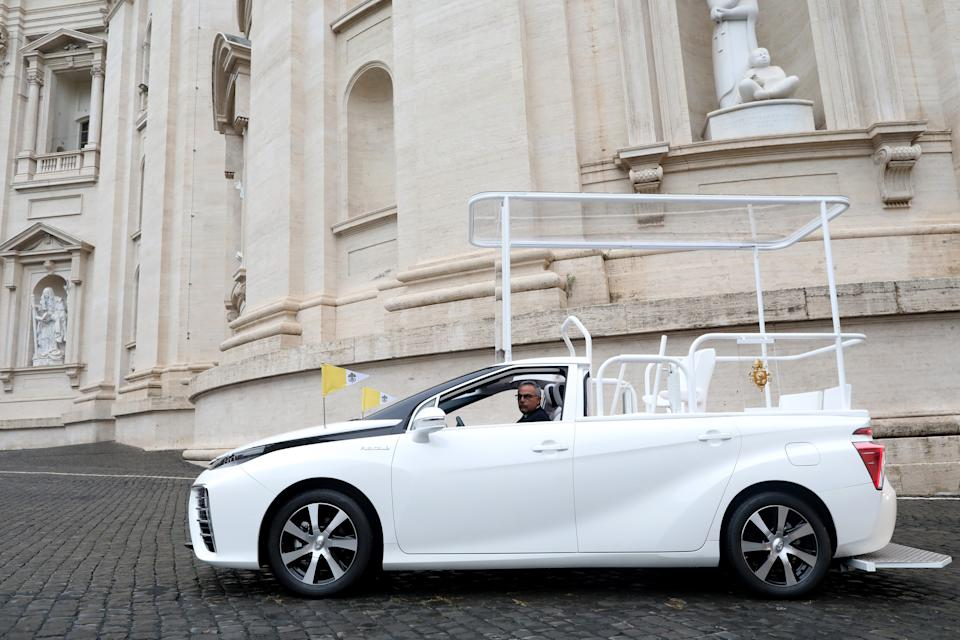 VATICAN CITY, VATICAN - OCTOBER 07: A general view of the Toyota Mirai Papamobile on October 07, 2020 in Vatican City, Vatican. (Photo by Franco Origlia/Getty Images for Toyota)