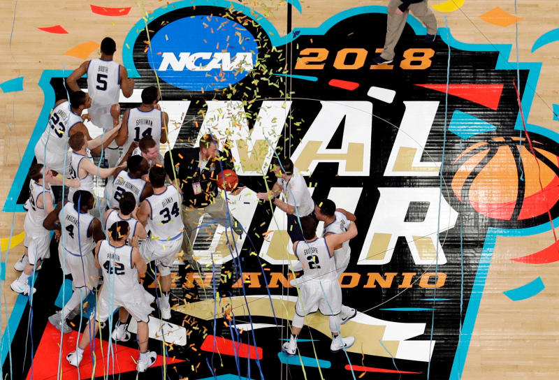 FILE - In this April 2, 2018, file photo, Villanova players celebrate after the championship game of the Final Four NCAA college basketball tournament against Michigan, in San Antonio. Villanova won 79-62. (AP Photo/Morry Gash, File)
