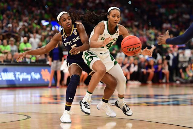 Notre Dame's Jackie Young and Baylor's Chloe Jackson chase a loose ball during the national title game. (Photo by Justin Tafoya/NCAA Photos via Getty Images)