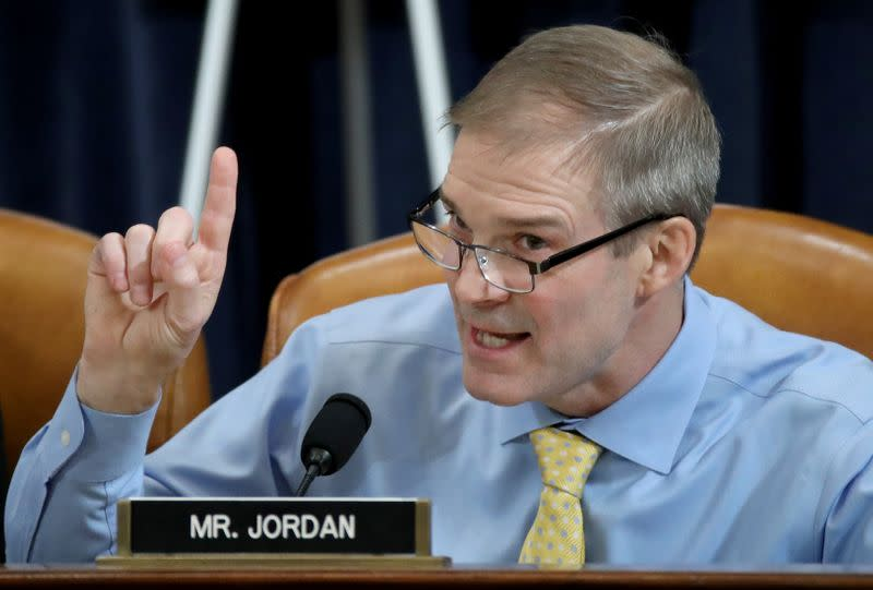 Rep. Jim Jordan (R-OH) questions constitutional scholars during testimony before the House Judiciary Committee hearing on the impeachment Inquiry into U.S. President Donald Trump on Capitol Hill in Washington