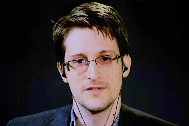 Edward Snowden delivers remarks via video link from Moscow to attendees at a discussion regarding an International Treaty on the Right to Privacy, Protection Against Improper Surveillance and Protection of Whistleblowers in Manhattan, New York September 24, 2015. Source: Reuters/Andrew Kelly