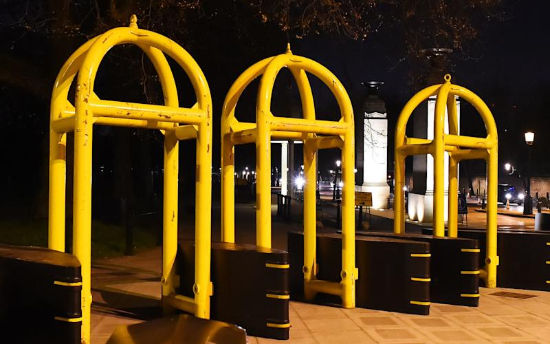 The bright yellow arches are sitting at the top of Constitution Hill - © www.splashnews.com