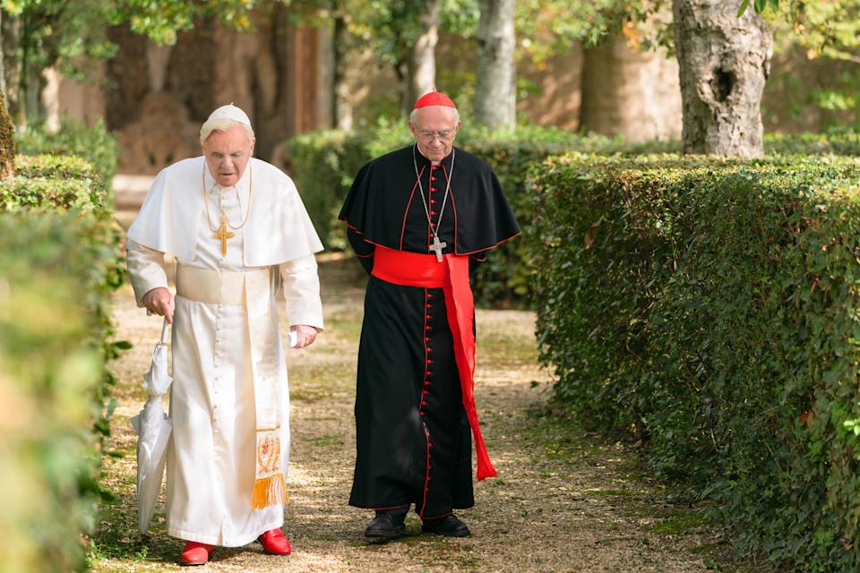 Jonathan Pryce with Sir Anthony Hopkins in The Two Popes (Peter Mountain/Netflix/PA)