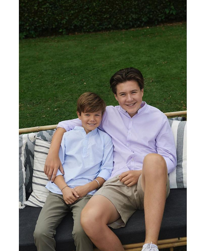 Prince Christian and Prince Vincent of Denmark smile for the camera