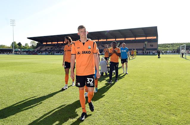 "Soccer Football - League Two - Barnet vs Chesterfield - The Hive, London, Britain - May 5, 2018 Barnet's Joe Payne looks dejected after the match as they are relegated from the Football League Action Images/Adam Holt EDITORIAL USE ONLY. No use with unauthorized audio, video, data, fixture lists, club/league logos or ""live"" services. Online in-match use limited to 75 images, no video emulation. No use in betting, games or single club/league/player publications. Please contact your account representative for further details."