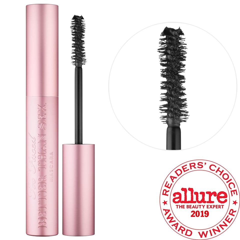 <p>More than 444,000 loves from other Sephora shoppers prove many feel smitten with the<span> Too Faced Better Than Sex Mascara</span> ($14-$26). Its collagen-fueled formula makes it as easy as 1-2-3 (coats) for lashes that are bold, voluminous, and defined.</p>