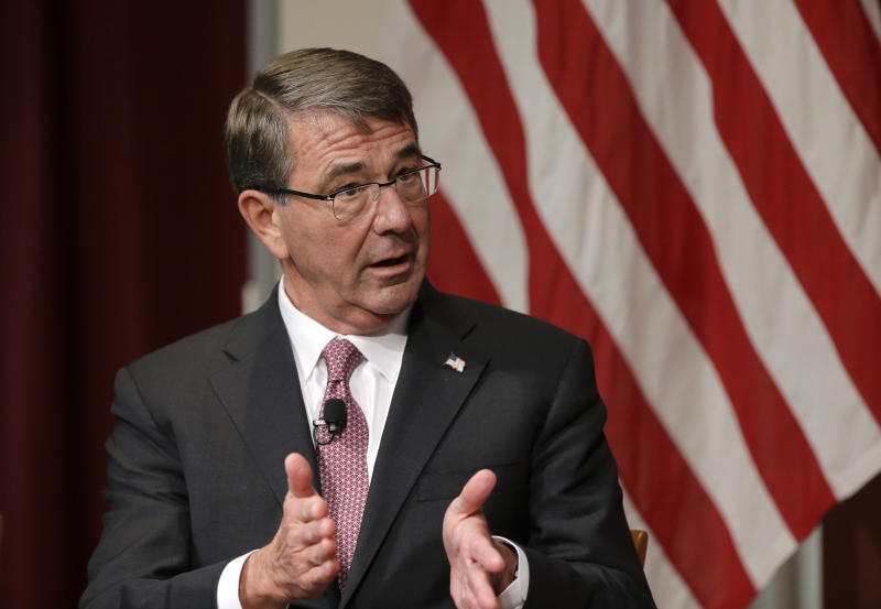 """Harvard professor Ash Carter, former U.S. secretary of defense, addresses an audience, Monday, Oct. 16, 2017, at a forum called """"Perspectives on National Security,"""" at the John F. Kennedy School of Government, on the campus of Harvard University, in Cambridge, Mass. (AP Photo/Steven Senne)"""