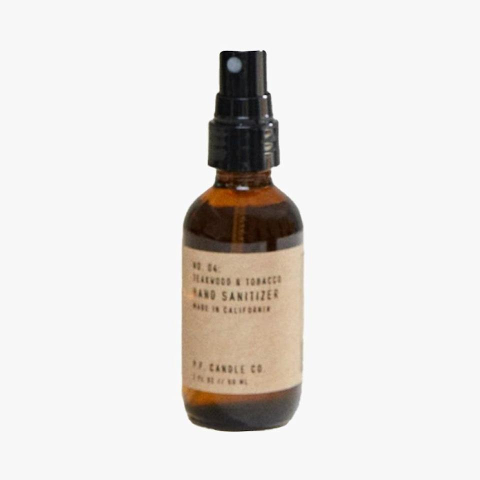 """P.F. Candle Co. launched a hand sanitizer in the same scents as some of their best-loved candles. $16, P.F. CANDLE CO.. <a href=""""https://pfcandleco.com/collections/hand-sanitizer/products/teakwood-tobacco-hand-sanitizer"""" rel=""""nofollow noopener"""" target=""""_blank"""" data-ylk=""""slk:Get it now!"""" class=""""link rapid-noclick-resp"""">Get it now!</a>"""