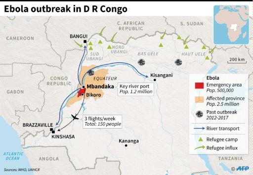 Where Bikoro and Mbandaka are located in the Democratic Republic of Congo