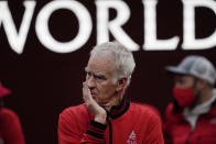 Team World's captain John McEnroe watches competition against Team Europe during Laver Cup tennis, Sunday, Sept. 26, 2021, in Boston. (AP Photo/Elise Amendola)