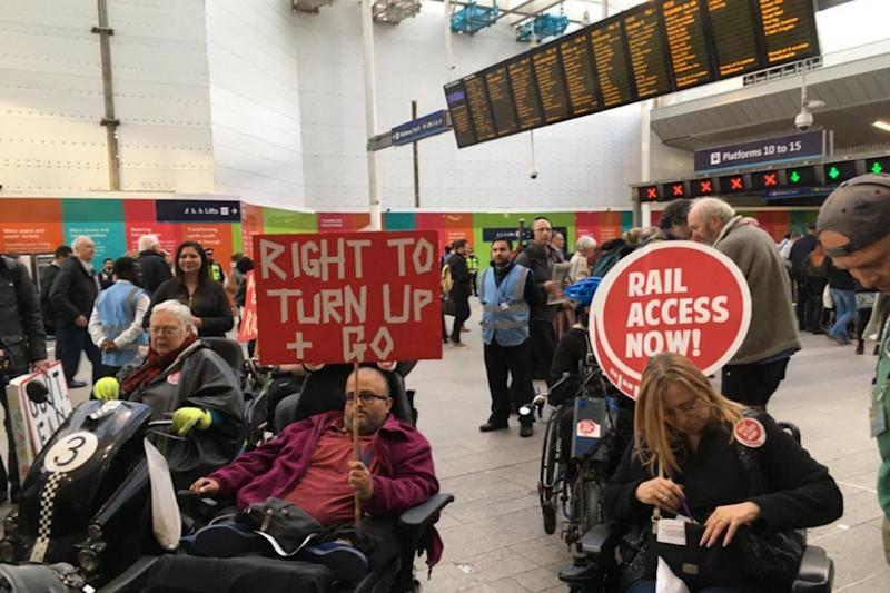 More than 50 disabled people turned up for the protest