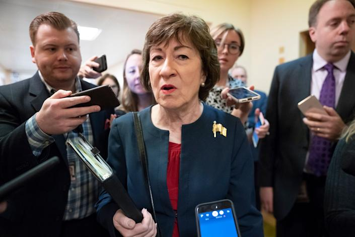 In this Nov. 6, 2019, file photo, Sen. Susan Collins (R-Maine) is surrounded by reporters as she heads to vote at the Capitol in Washington. (Photo: ASSOCIATED PRESS)