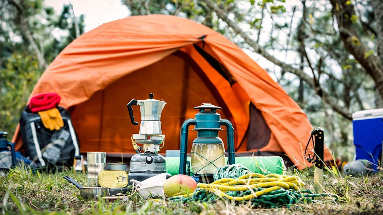 Equipment and accessories for mountain hiking in the wilderness.